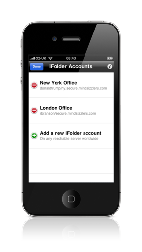 Manage multiple iFolder accounts from a single device
